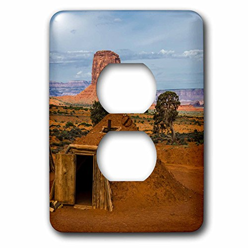 Hogan Cover - 3dRose Danita Delimont - Monument Valley - Arizona, Utah, Navajo Reservation, Monument Valley, traditional hogan - Light Switch Covers - 2 plug outlet cover (lsp_250505_6)