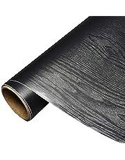 Mullsan Black Wood 3D Waterproof Gloss Vinyl Film Shelf Liner Door Countertop Cabinet Sticker Wallpaper 24''x79'' Roll