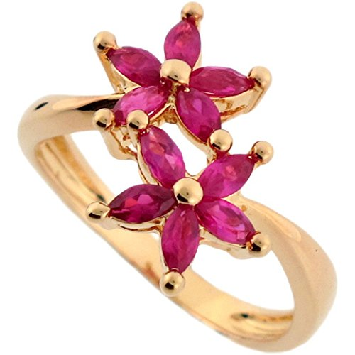 14k Real Yellow Gold Flower Red CZ Every Day Fun Ring