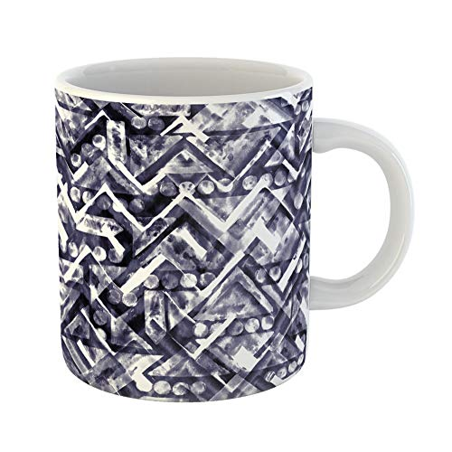 Emvency Coffee Tea Mug Gift 11 Ounces Funny Ceramic Geometric Tribal Ethnic Pattern Blue Saturated Chevron Watercolor Markers Gifts For Family Friends Coworkers Boss Mug