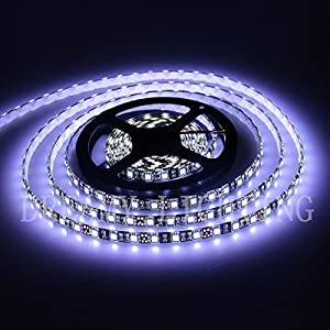 XKTTSUEERCRR 16.4ft/5M, Black PCB 5050 SMD 300LED/Roll, Cool White, Waterproof(IP65) Flexible Strip Light, DC 12V For Outdoors/ Indoors/ Car/ Truck/ Mall/ Booth/ Stage/ House Celebration Decoration + DC Connector (Power Supply Not Included)