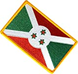 """[Single Count] Custom, Cool & Awesome {2.15"""" x 3.4"""" Inches} Small Rectangle Burundi Africa Burundian Flag National Star Emblem Morale Design (Military Type) Velcro Patch """"Gold, Green, White & Red"""""""