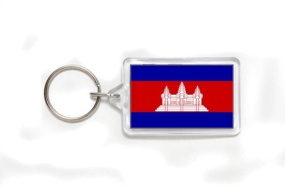 Cambodia Cambodian Flag Double Sided Acrylic Key Ring Small