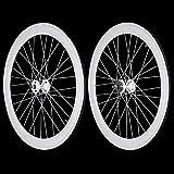 Fixie Freewheel Track Wheel Wheelset Deep V White+Tires