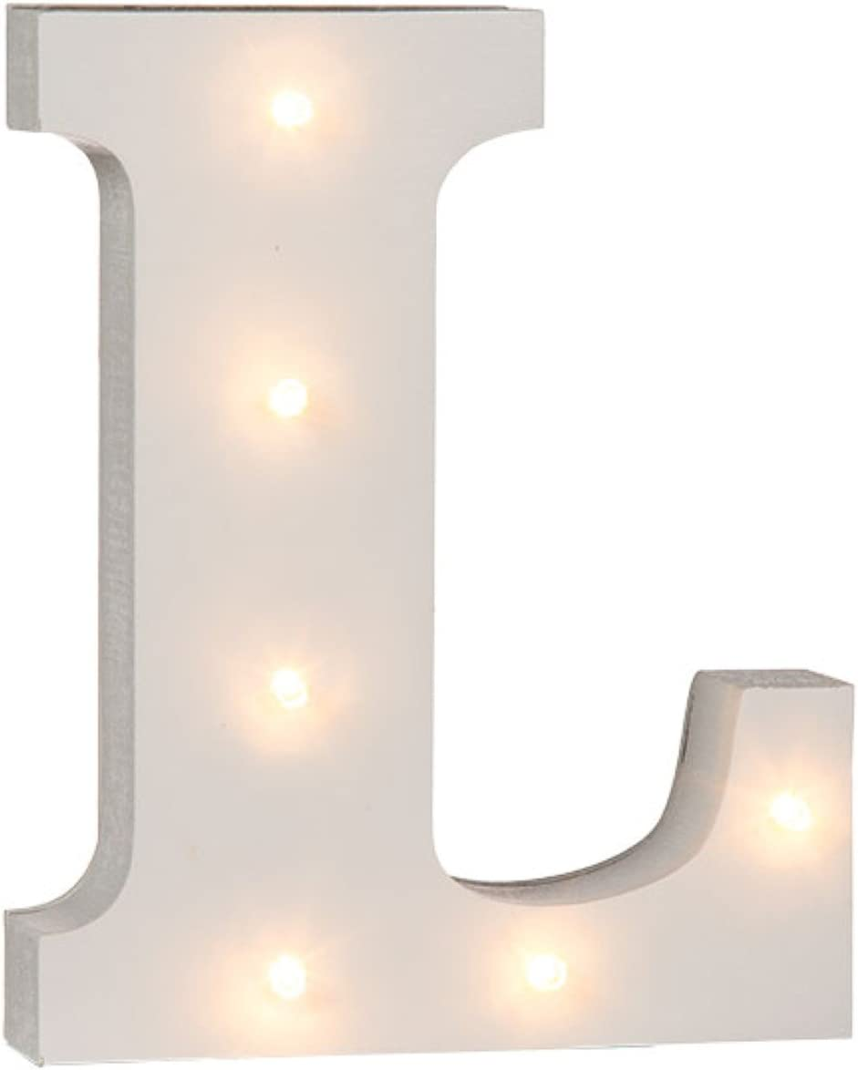 Letter E White Wooden Illuminated Letters and Numbers Complete Alphabet 16 cm
