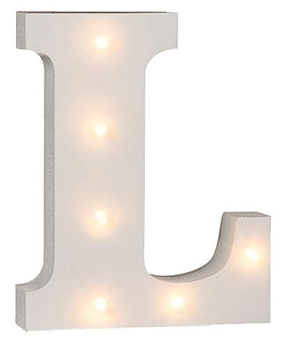 6-1//4-Inch White LED Wood Letter L