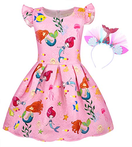 HenzWorld Little Mermaid Ariel Casual Dress Costume Starfish Headband Girls Princess Birthday Party Ruffle Outfit 4t -