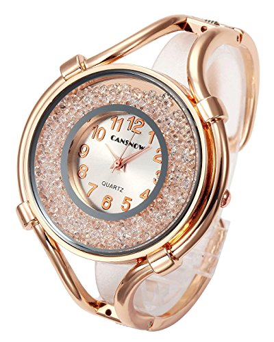Top Plaza Women Ladies Casual Luxury Gold Silver Rose Gold Tone Alloy Analog Quartz Bracelet Watch Big Face Small Dial Rhinestones Decorated Elegant Dress Bangle Cuff Wristwatch-Rose Gold