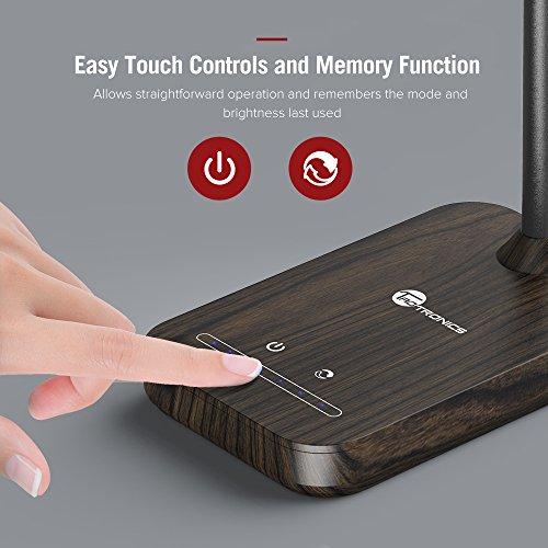 TaoTronics Desk Lamp, LED Table Light with 5 Lighting Modes & 7 Brightness Levels (Eye Caring, Flexible Gooseneck, Touch Controls, Memory Function) Wood Grain Design by TaoTronics (Image #4)