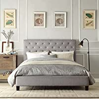Contemporary Grey Linen Button-Tufted Headboard Queen Platform Bed
