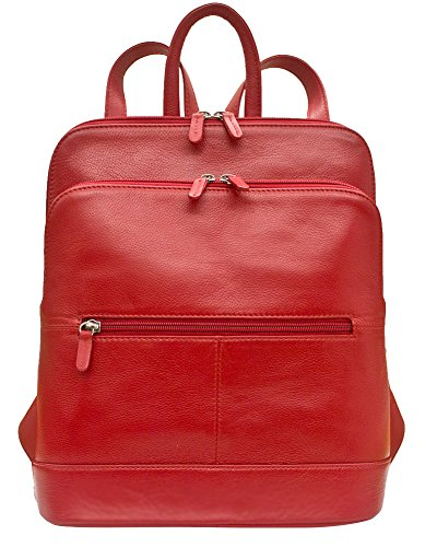 Leather Backpack Handbag,One Size,Red by ILI