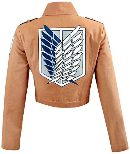 HiRudolph Women's Cosplay Attack On Titan Shingeki No Kyojin Recon Corps Jacket Coat Costume, Large, Brown