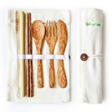 Coconut Travel Cutlery Set Wooden Utensils Reusable Organic Flatware Set | Knife, Fork, Spoon, Chopstick, Straws and Cleaning Brush with Portable Pouch Gift for Camping Office Lunch NATURALNEO