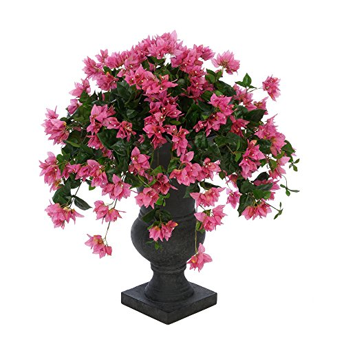 House of Silk Flowers Faux Bougainvillea in Black Roman Urn Planter (Orchid Pink)