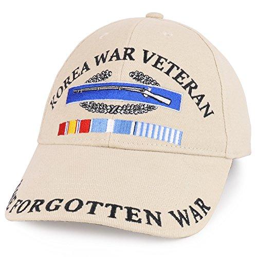 Armycrew Korea War Veteran CIB Embroidered Structured Military Baseball Cap - Khaki