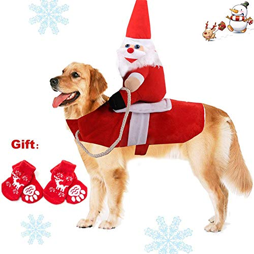 QCLU Pet Dog Cat Christmas Costume, Funny Santa Claus Riding Outfit for Small Large Dogs, Santa Claus Riding Pet to Send Gift Knight Pets Clothes Suit for Christmas Dressing up, Include 4 Pet Socks from QCLU