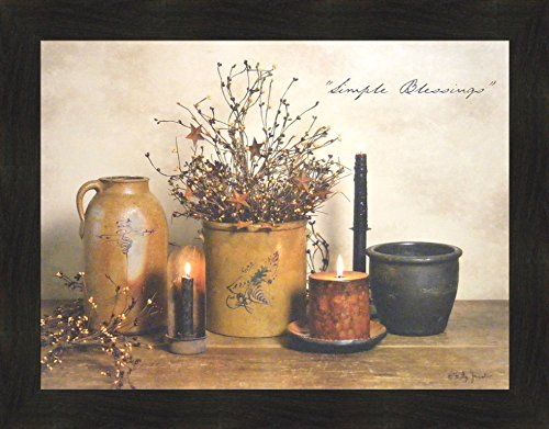 Simple Blessings by Billy Jacobs 22x28 Crocks Candles Country Primitive Folk Art Photography Wall Décor Framed Picture