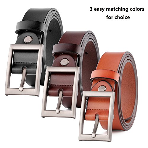 Genuine Leather Belts for Women Jeans Pants Belt with Solid Pin Buckle
