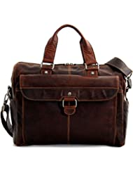 Jack Georges Voyager Collection Top Zip Briefcase W/Front Flap in Brown