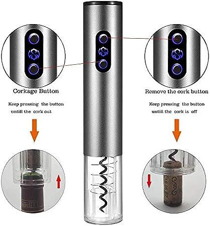 ESF Abrebotellas eléctrico, sacacorchos automático inalámbrico Recargable, Cable de Carga USB de Acero Inoxidable