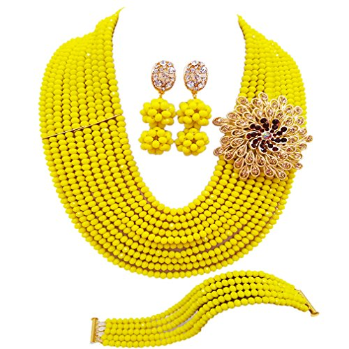 (laanc 10 Rows Fashion Costume African Beads Jewelry Set Nigerian Wedding Bridal Jewelry Sets for Women (Opaque Yellow))