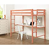 Janes Gallerie Bentley Twin Metal Loft Bed with Workstation - Coral