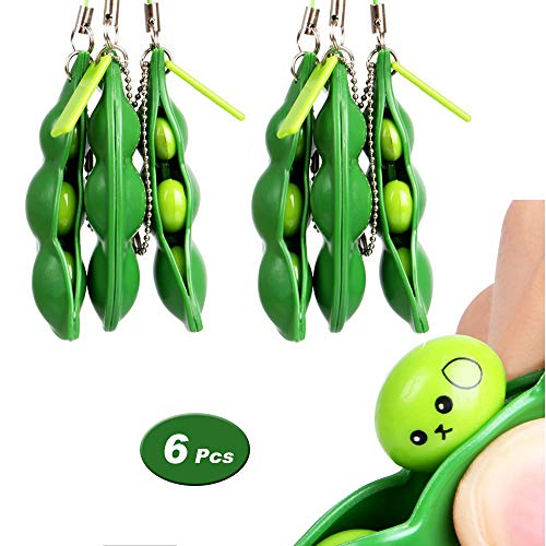 - 6 Pcs Squeeze Bean Fidget Toy, Extrusion Bean Keychain Keyring for Children and Adults Release Stress and Anxiety, OCD, ADD, ADHD, Improve Focus, Skin Picking, Nail Biting