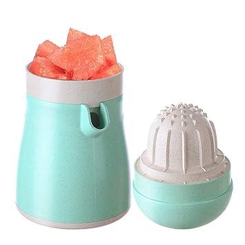 Exprimidor de fruta portátil de color limón y naranja, fácil de limpiar, mini manual para uso doméstico, color verde lima: Amazon.es: Hogar