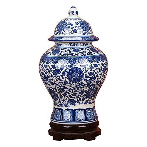 - ufengke Jingdezhen Classic Blue and White Porcelain Floral Temple Ginger Jar Vase, China Ming Style,Height 15