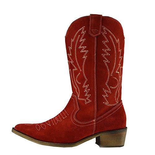bout de Rouge Bottes Femme cowboy Mollet du de Pointu à Cuir Bottes l'Ouest Large Dames FxxqwpB8