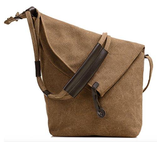 Brown Crossbody Kaki Shouder Hobo Messenger Wslcn Dark Unisex Bag Casual Canvas PwvxIq7F