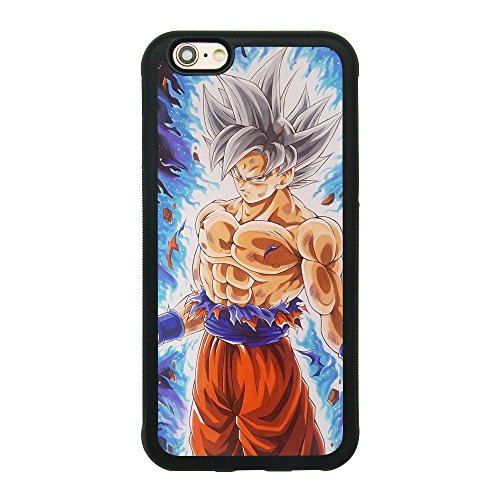 Dragon Ball Super Z Son Goku Ultra Instinct Japanese Anime Case for iPhone 6/6S (4.7 inch) Comic TPU Silicone Gel Edge + PC Bumper Case Skin Protective Printed Phone Full Protection Cover