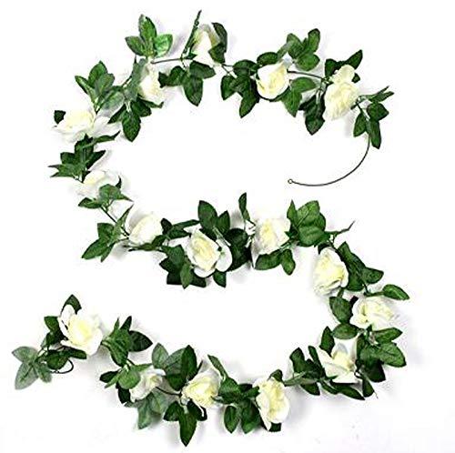 LEIKUS 2Pcs Artificial Flowers Wreath Silk Artificial Roses Garland Plant Vine for Wedding Party Home Garden Wall Decoration, Cream