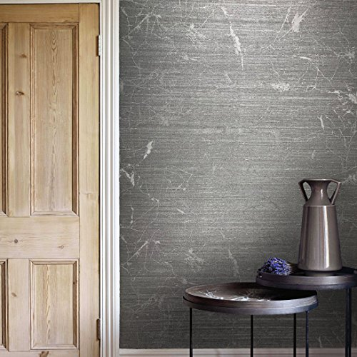 76sq.ft roll made in Italy Portofino textured wallcoverings modern embossed Vinyl Wallpaper silver titanium gray metallic faux rustic metal design Vertical Stripes lines plain strippable wall covering
