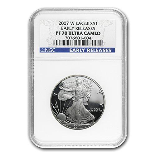 2007 W Proof Silver American Eagle PF-70 NGC (ER) 1 OZ PF70 NGC