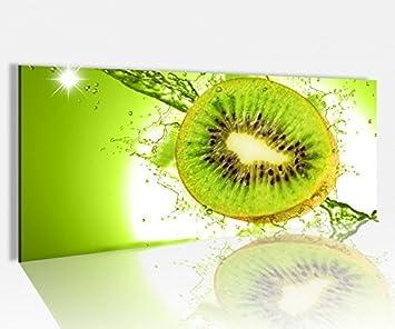 Amazon.de: Acrylglasbild 100x40cm Kiwi Wasser Tropfen Obst Küche ...