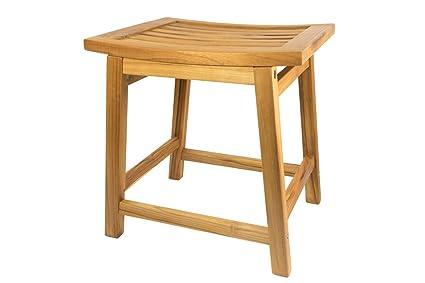 Magnificent Terra Teak Shower Stool 18 Inch Water Resistant Wooden Saddle Seat Satori Bench Inzonedesignstudio Interior Chair Design Inzonedesignstudiocom