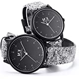 Couple Watches for Men and Women, Quartz Analog Wristwatches with Classic Grey Leather Straps, Anniversary Gift Set