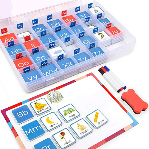 Gamenote Magnetic Objects and Letters Sorting Tiles with Magnet Board - Foam Tile for Beginning Sounds Phonics Learning (104pcs in Storage Case)
