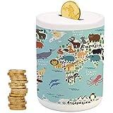 Kids,Ceramic Child Bank,Printed Ceramic Coin Bank Money Box for Cash Saving,Educational World Map Africa Camel America Lama Alligator Ocean Australia Koala Print Decorative