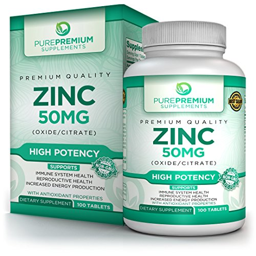 (Premium Zinc Oxide/Citrate Supplement by PurePremium Supplements [100 Tablets, 50mg] | Supports Immune System & Reproductive Health | Antioxidant Properties & Increased Energy)