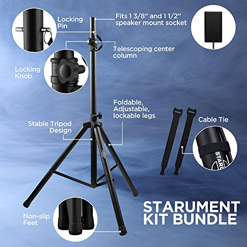 Pa Speaker Stands Pair Pro Adjustable Height with 50 Cable Ties Kit To Secure Cable to stand (2 Stands) 6ft Tripod Speaker stands by Starument - Image 1
