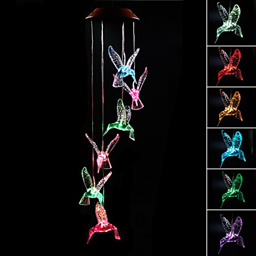 Clear Animal Solar Operated Mobile Wind Spinner Color Changing Wind Chime Light (Hummingbird) Hummingbirds Animals