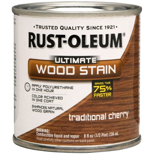 - Rust-Oleum 260365 Ultimate Wood Stain, Half Pint, Traditional Cherry