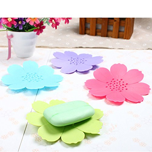 Juenana 4Pcs Dish Bathroom Accessories Plastic Water Draining Flower Soap Holder