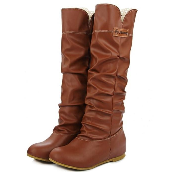 TAOFFEN Damen Retro Herbst Winter Flache Langschaft Stiefel: Amazon.de:  Schuhe & Handtaschen