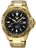 Seiko 5 Sports Black Dial Gold-Tone Stainless Steel Mens Watch SRP440, Watch Central