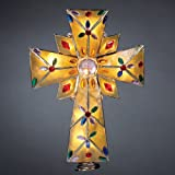 Lighted Amber Capiz Cross with Multi Gems Christmas Tree Topper - Clear Lights