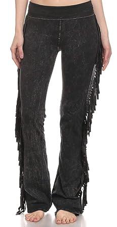 03d02f6955c62 Amazon.com: T Party Women's Fringe Leg Mineral Wash Yoga Pants ...