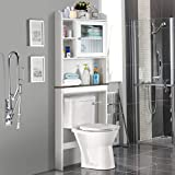 Giantex Over-The-Toilet Space Saver Collette Bathroom Spacesaver with Storage Rack Cabinet, White & Black (1 Door w/Multi Shelves)